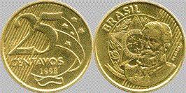 Moeda Brasileira De 25 Centavos De Real 1998 Moedas Brasileiras