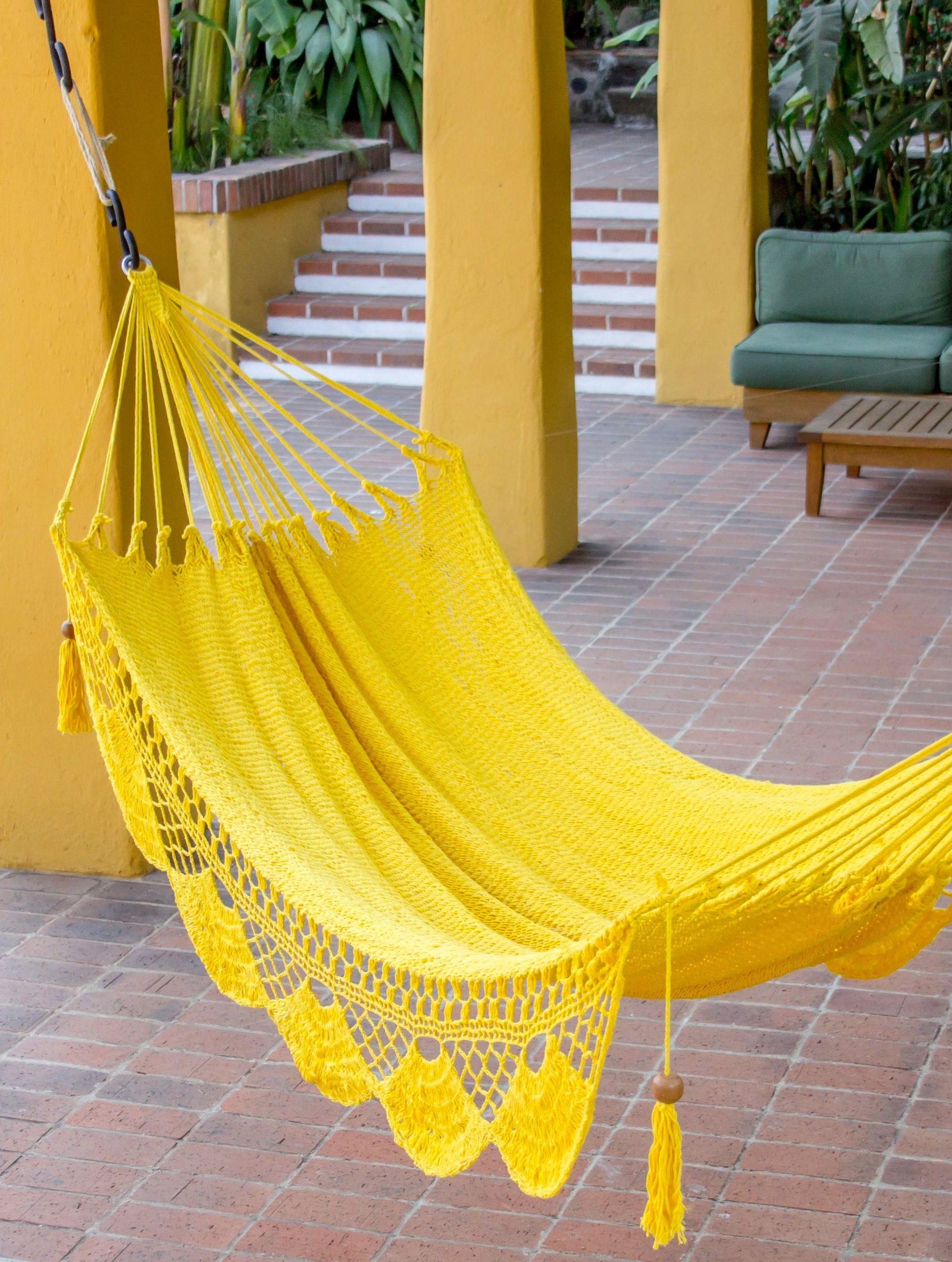 Hand woven yellow cotton hammock from nicaragua single ufresh air