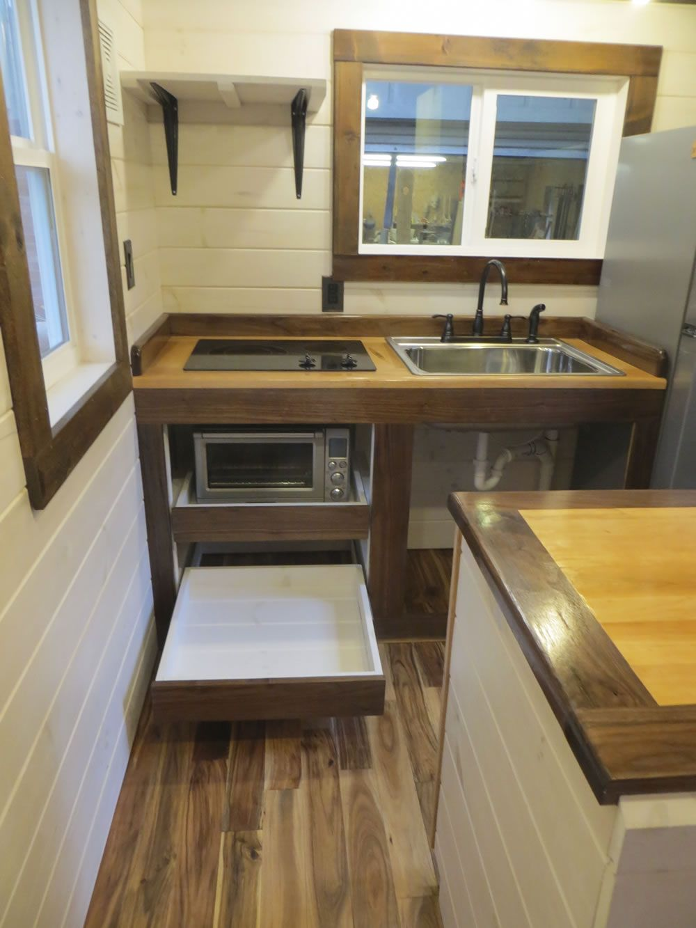 tiny house kitchen designs. robins nest tiny house on wheels by brevard homes 0003 Robins Nest Tiny  House Full Tour Photos put appliances in shelves to save counterspace Small Hacks