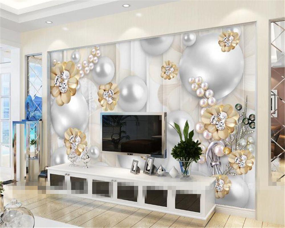 Beibehang Custom wallpapers 3D luxury pearl flowers background ...