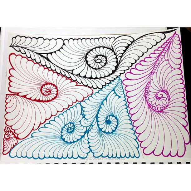 More gravity feather doodles for quilting by Elizabeth Karnes at http://instagram.com/lizzy_jo_quilts