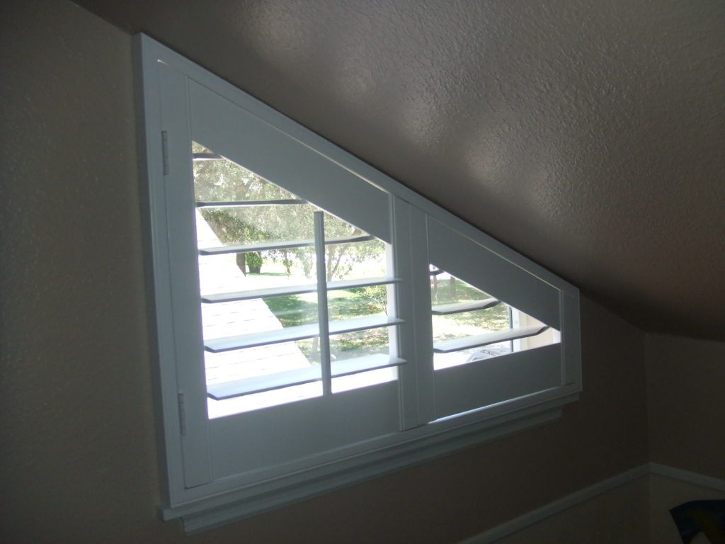 Triangle windows photos supplying wooden window shutters for - Angle Top Angle Bottom And Triangle Window Treatments