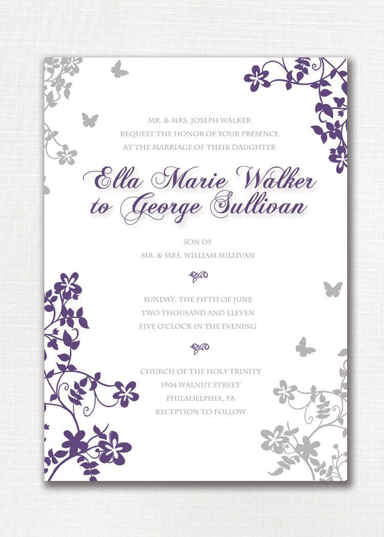 Wedding Invitation Custom Classic Floral Butterfly Purple And Gray Beautiful Simple Purple Wedding Invitations Grey Wedding Invitations Wedding Invitations