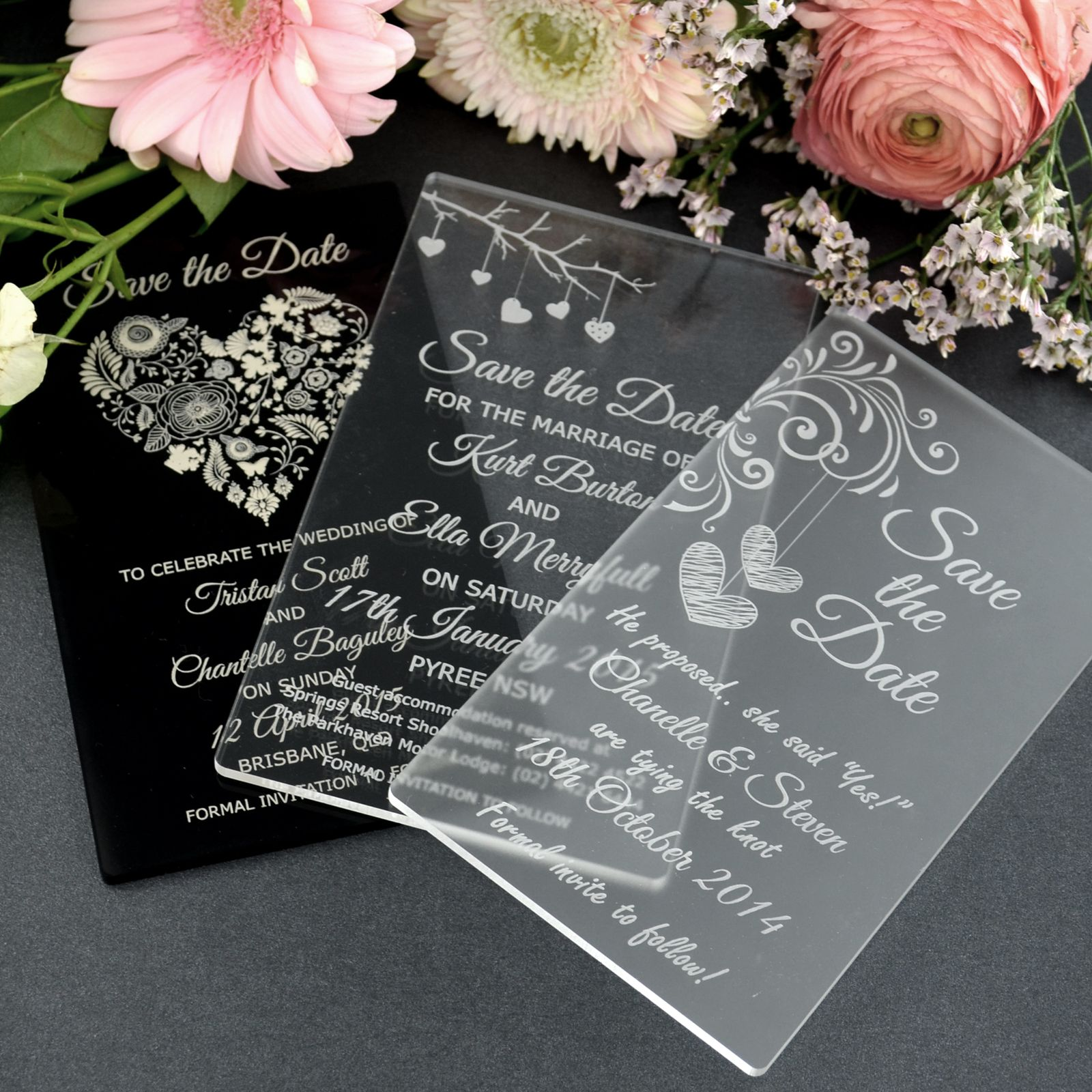 11B Engraved Acrylic Save The Date Cards