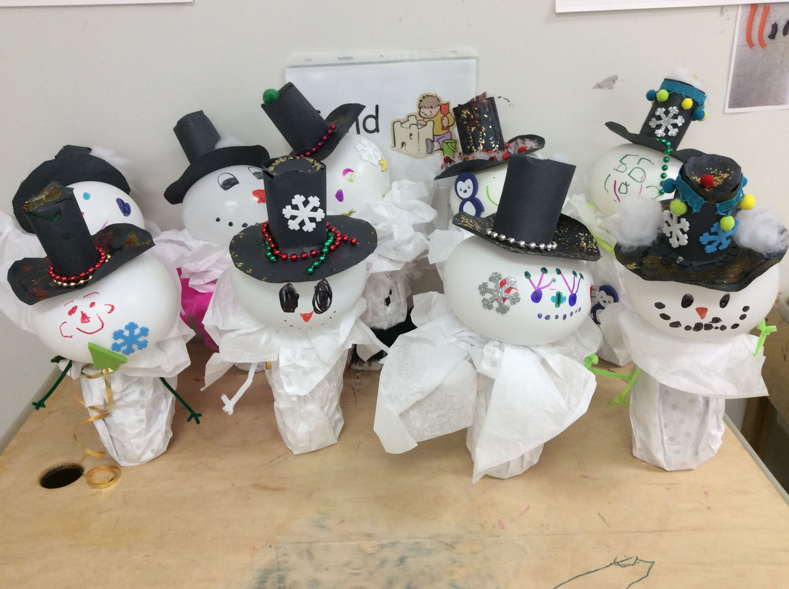 We made these fun snowmen with our grade 4 & 5 learning buddies!