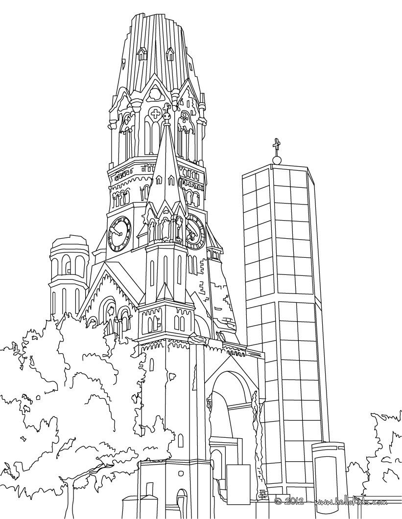 Famous Places In Germany Coloring Pages Kaiser Wilhelm Memorial Church Tower In Berlin Coloring Pages Berlin City Sketch
