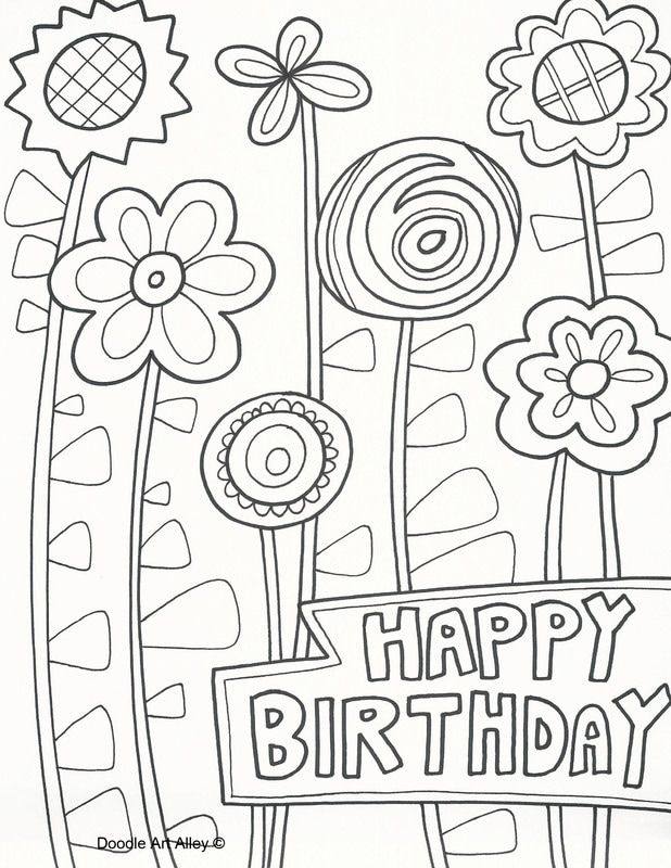 Doodly birthday masterpieces to color for somebody special
