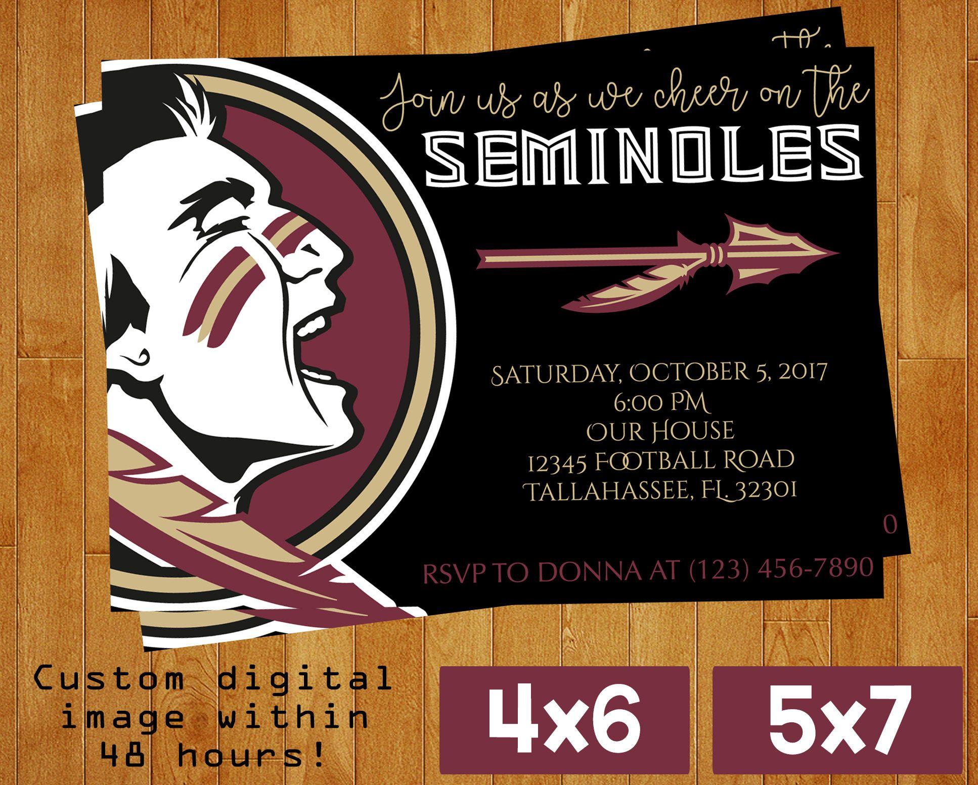 FSU florida state seminoles football watch party invitation custom