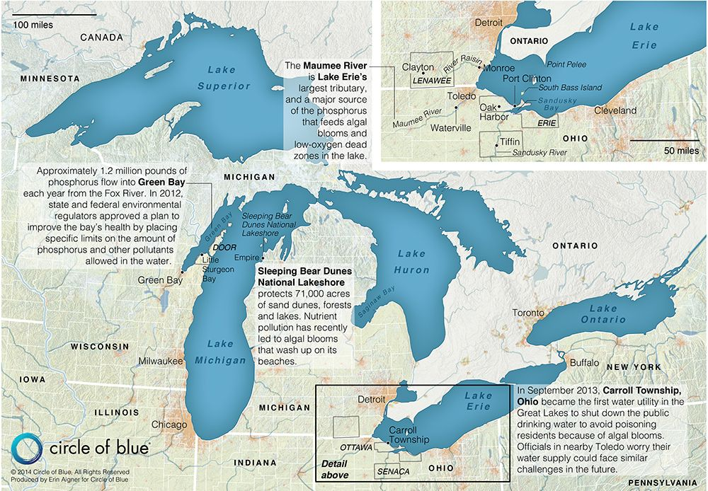 Great Lakes map harmful algal blooms Lake