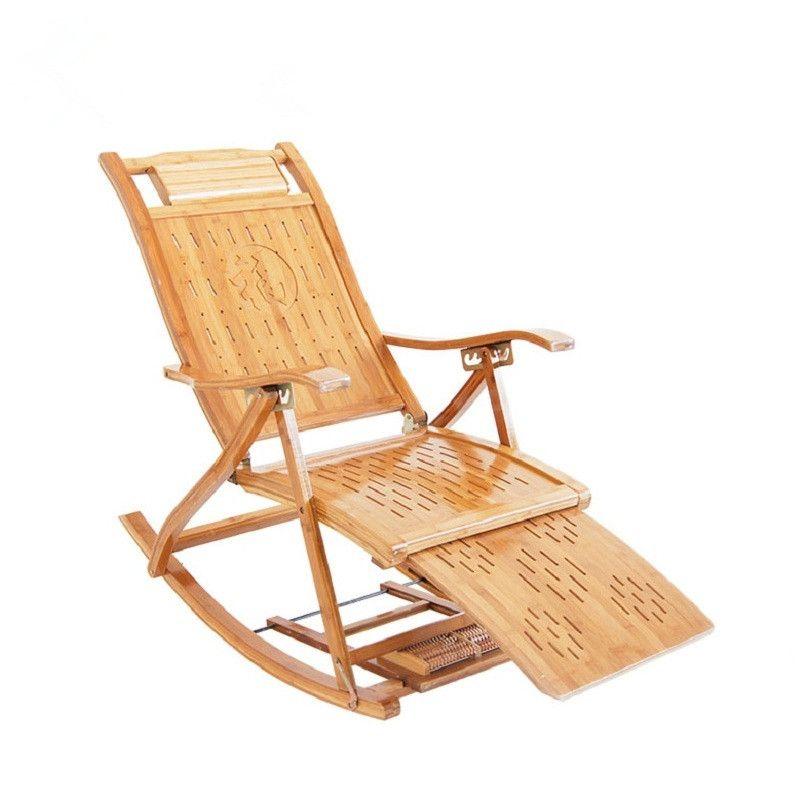 Modern Bamboo Rocking Chair Recliner avec Ottoman Chaise intérieure ...