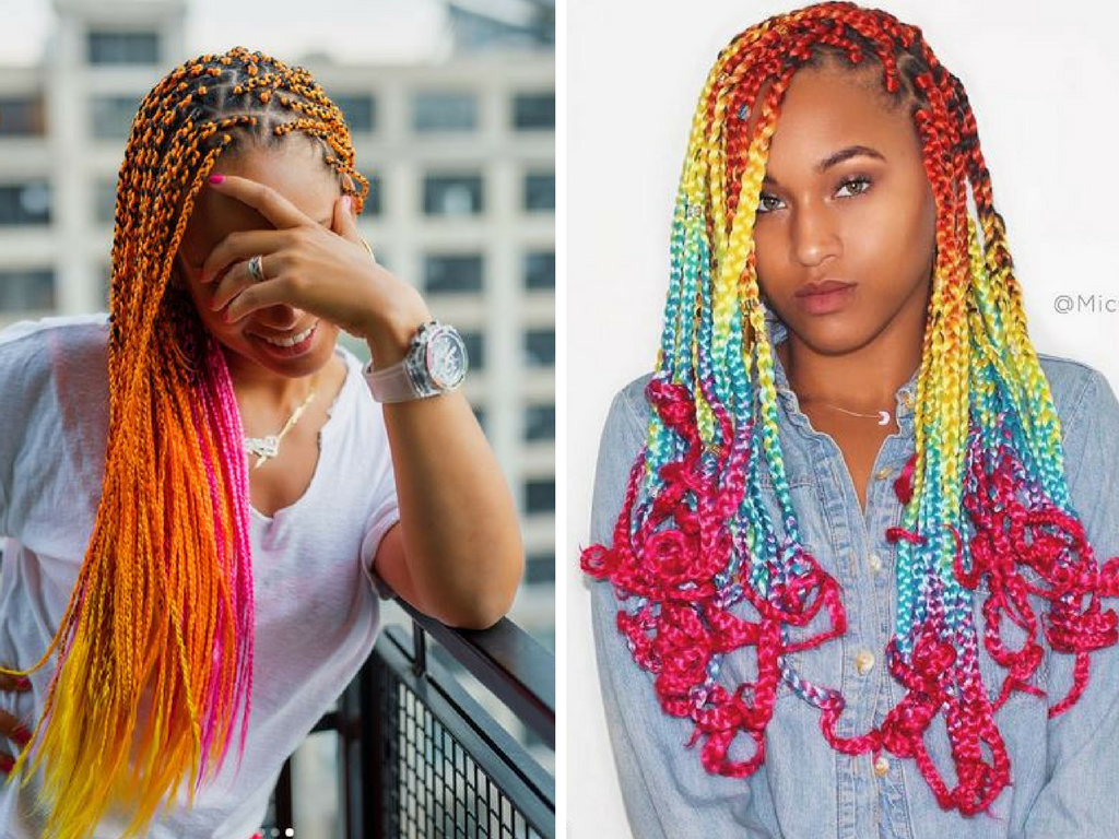 Hairstyles Braids With Color: Alicia Keys Debuted Some Rainbow/orangy Colored Unicorn