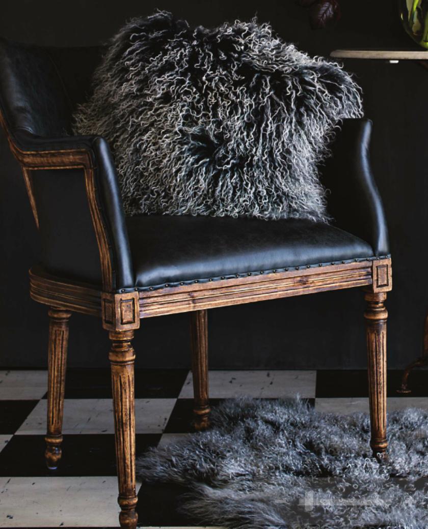 Boston French Occasional Chair   Black Leather U2013 Allissias Attic U0026 Vintage  French Style
