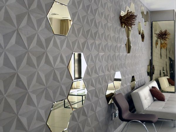 Tuiles en béton à lu0027intérieur hexagonale 3d Combinaison miroir mural