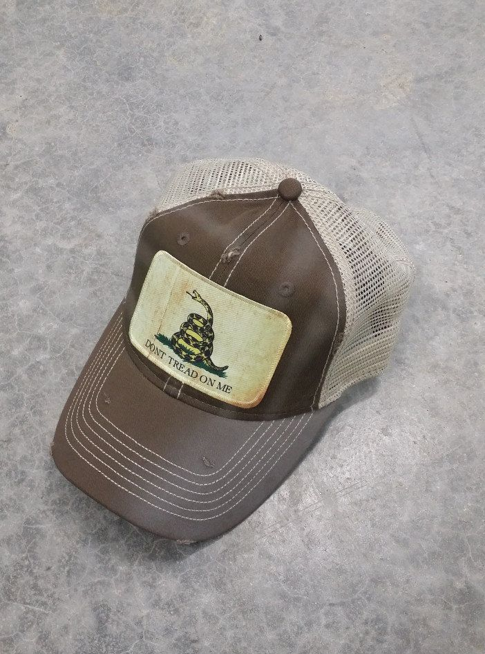 8e5255398 Don't Tread On Me Gadsden Flag Baseball Trucker Mesh Cap Hat Brown ...