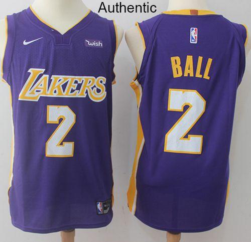 484cefe9e Nike Lakers  2 Lonzo Ball Purple NBA Authentic Statement Edition Jersey