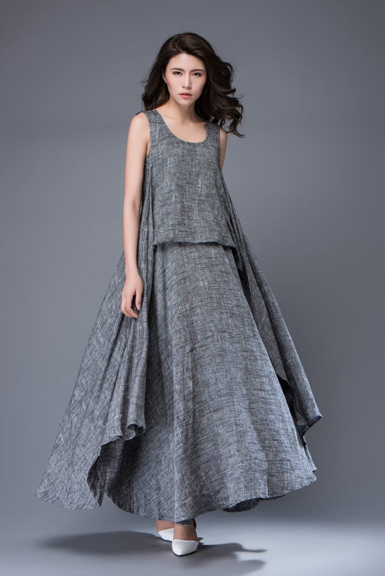 Gray Linen Dress – Layered Flowing Elegant Long Sleeve Long Summer Dress with Scoop Neck Handmade Clothing C881