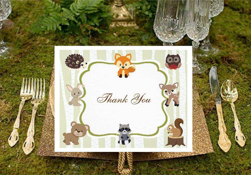 Woodland Forest Animals Baby Shower Thank You Cards