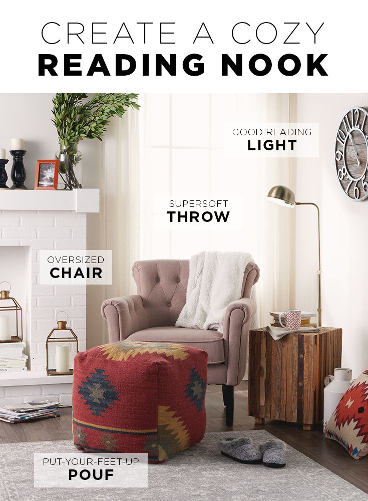 Create Your Own Space With A Few Key Elements From Kohlu0027s: HomeVance Tufted  Armchair, Artisan Bennet Pouf, Antique Pharmacy Floor Lamp And Cuddl Duds  Throw.