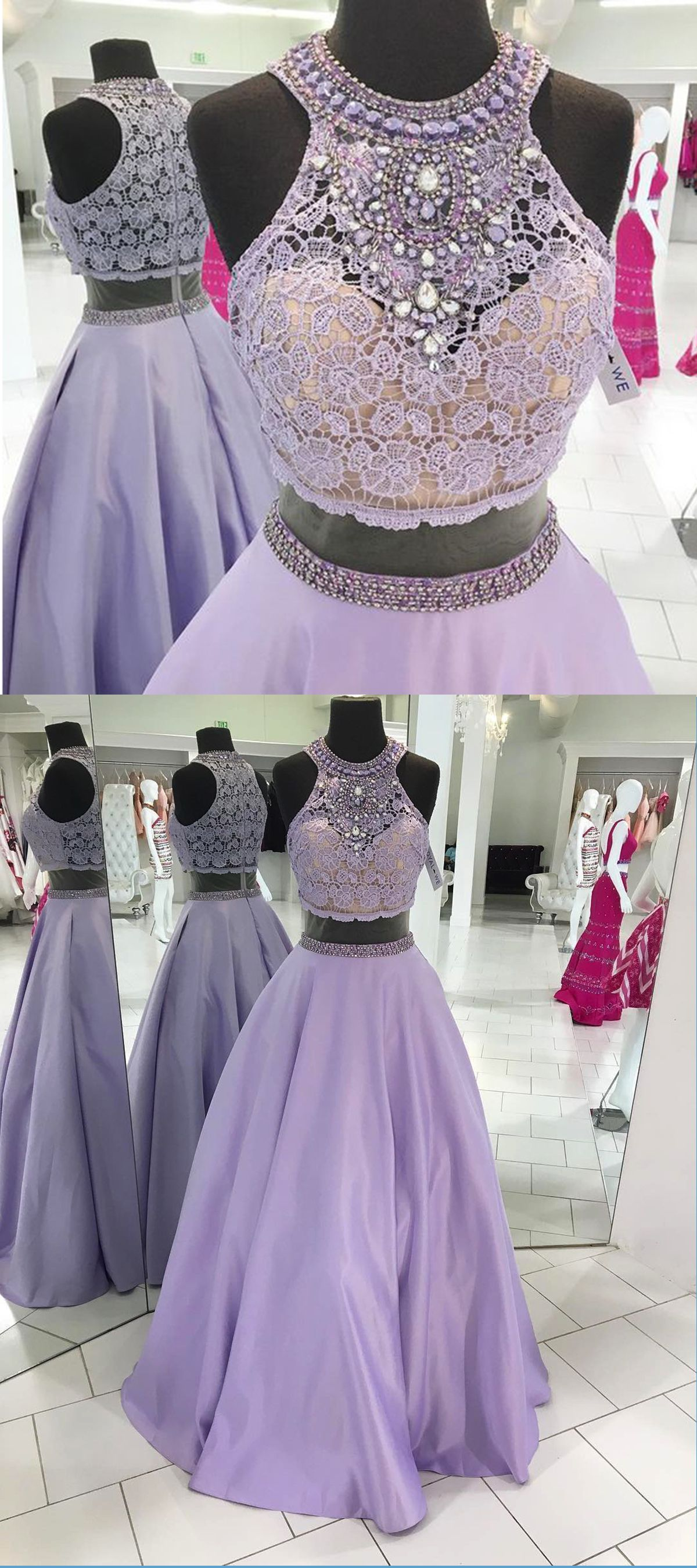 Two Piece Prom Dresses Its A Lavender Lace And Satin Senior Prom