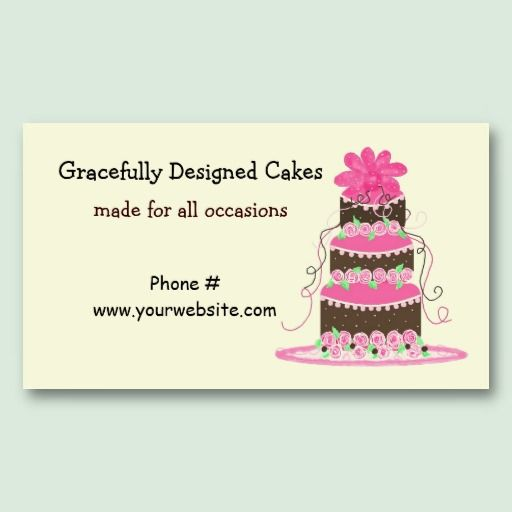 Elegant Pink And Chocolate Cake Business Card Template