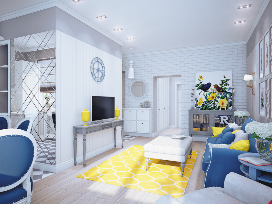 yellow and blue living room ideas. Neutral Colored Living Room with Bright Blue and Yellow Accents