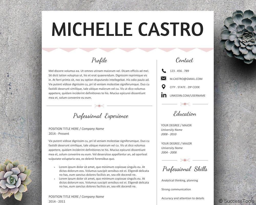 Resume Template Professional Modern Resume Instant Download