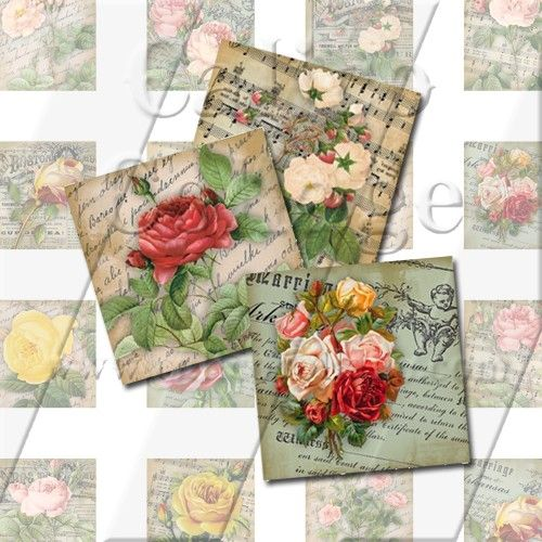 Bella Roses  Collage Sheet  Digital Email PDF by calicocollage, $3.75