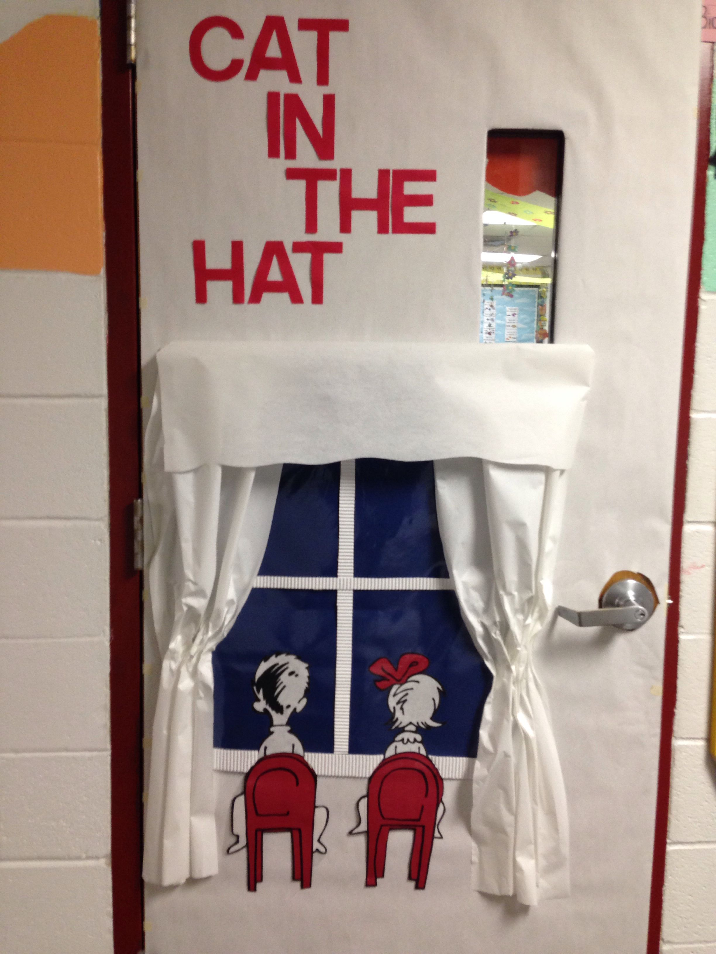 Pin By Usa Texas On Elementary Crafts Cat In The Hat Door Decoration Classroom Decorations Dr Seuss Door Decorations