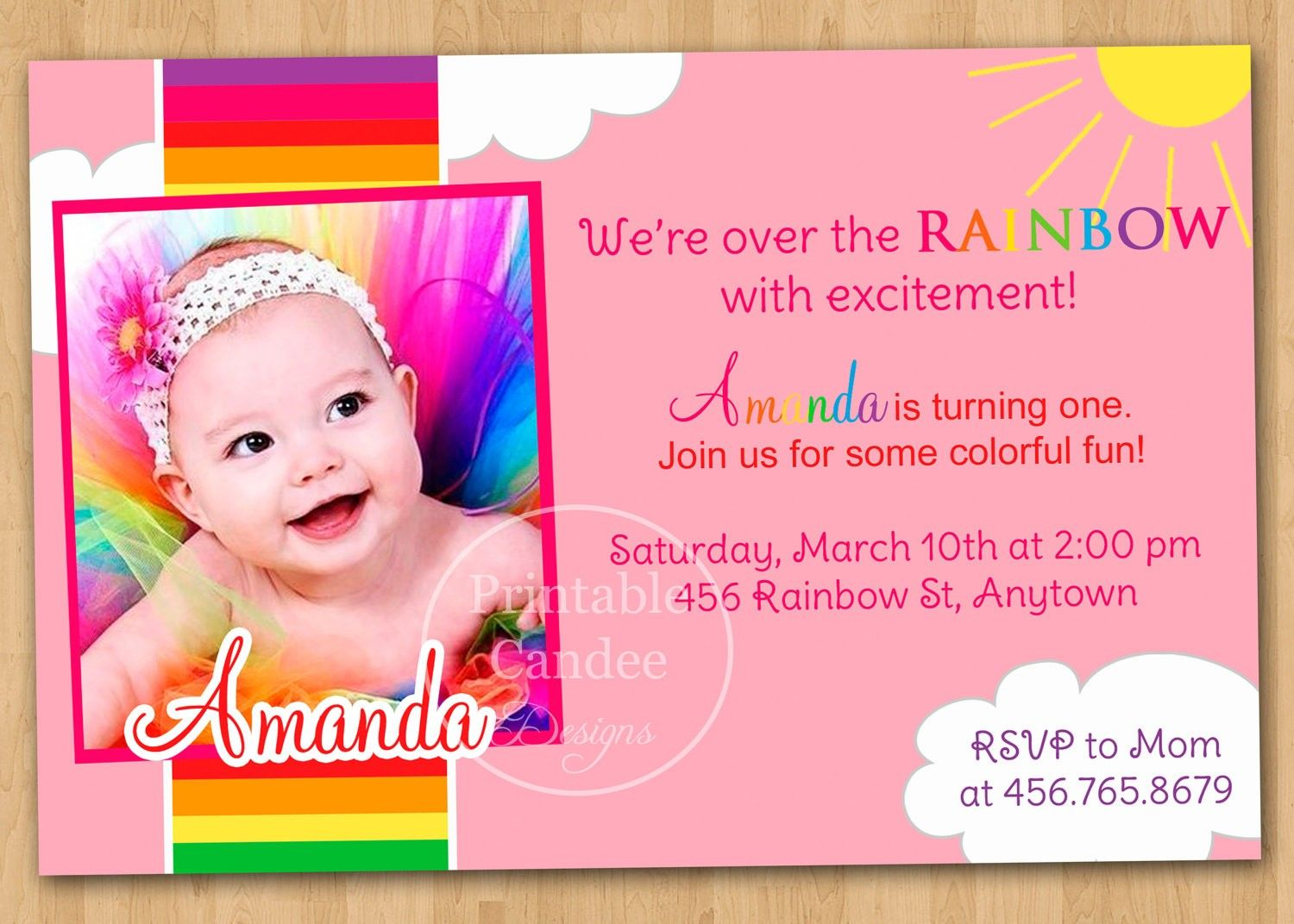 St Birthday Invitation Wording Baby Girl Invitations - One year birthday invitation template