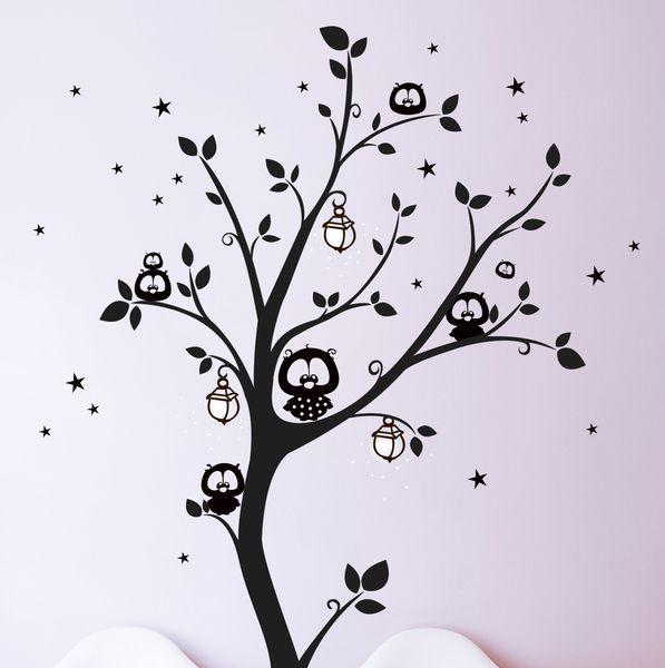 Wandtattoo Eulenbaum Eulen Baum Punkte M943 Von Deinewandkunst Auf