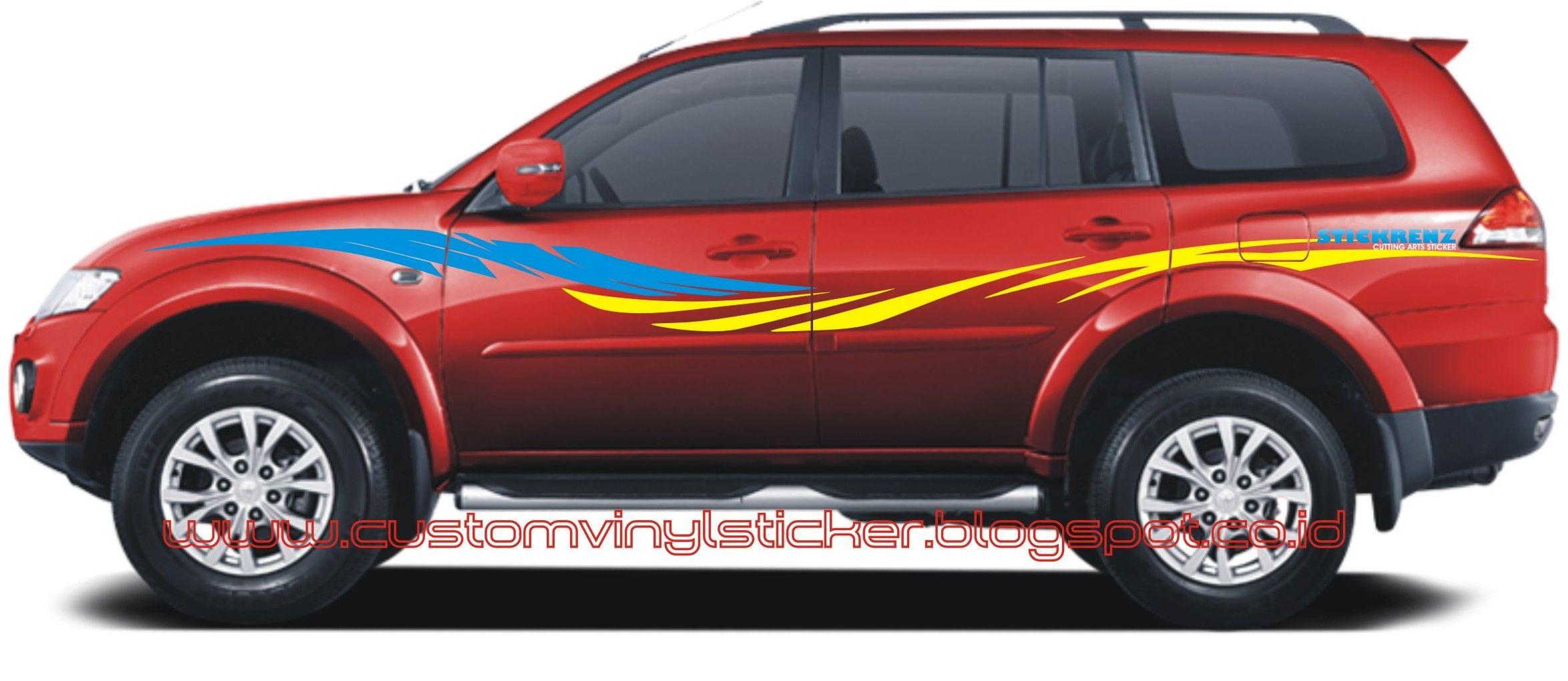 Red car sticker design - Mitsubishi Pajero Sport Red Custom Stripe Sticker Concept Mitsubishi Pajero Customsticker