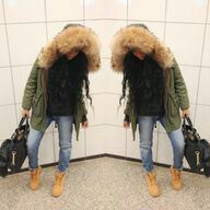 Army Green Jacket with Timberland Boots. | TIMBERLANDS