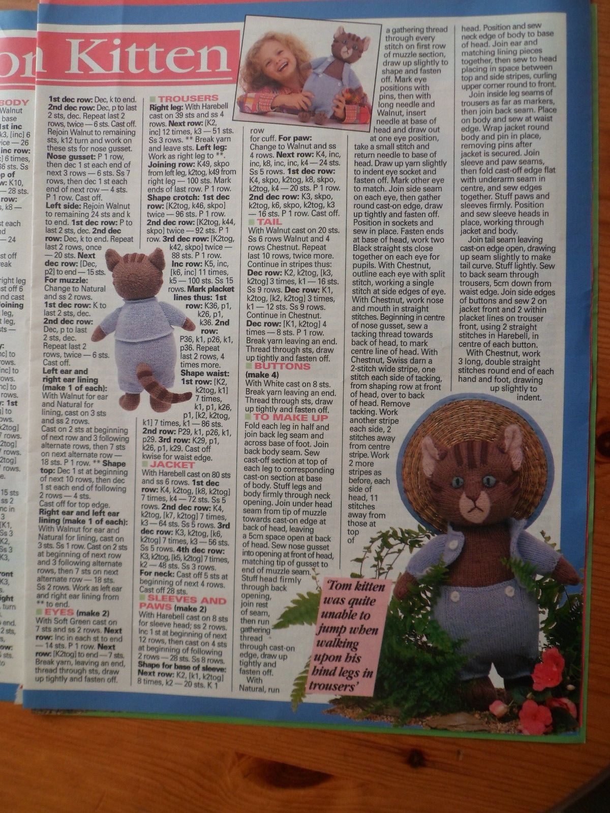 Alan Dart -Beatrix Potter Knitting pattern..Mrs Tiggy Winkle and ...