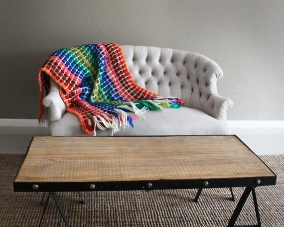Crochet blanket stripes Giant knit blanket in pure Merino Wool Large sofa throws with fringes