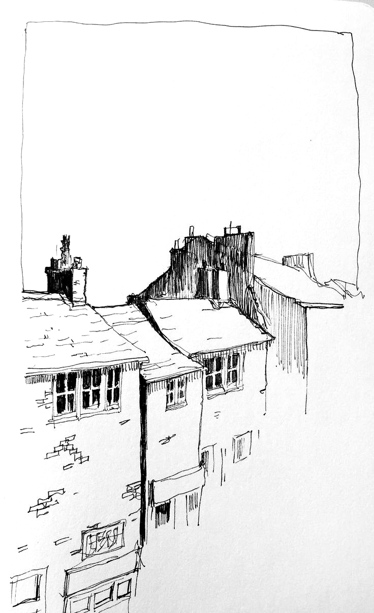 Moleskine sketch of a few roofs Discover John Harrison the photos of the artist on