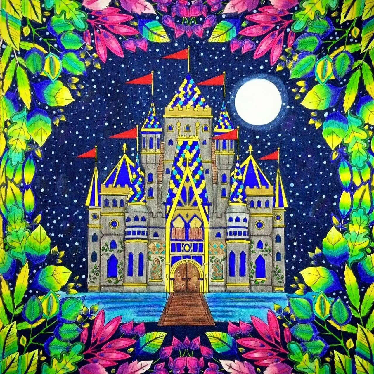 Zendoodle coloring enchanting gardens - Castle Leaves Enchanted Forest Castelo Floresta Encantada Johanna Basford