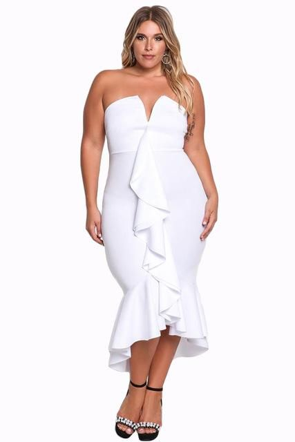 Formal black and white dresses plus size