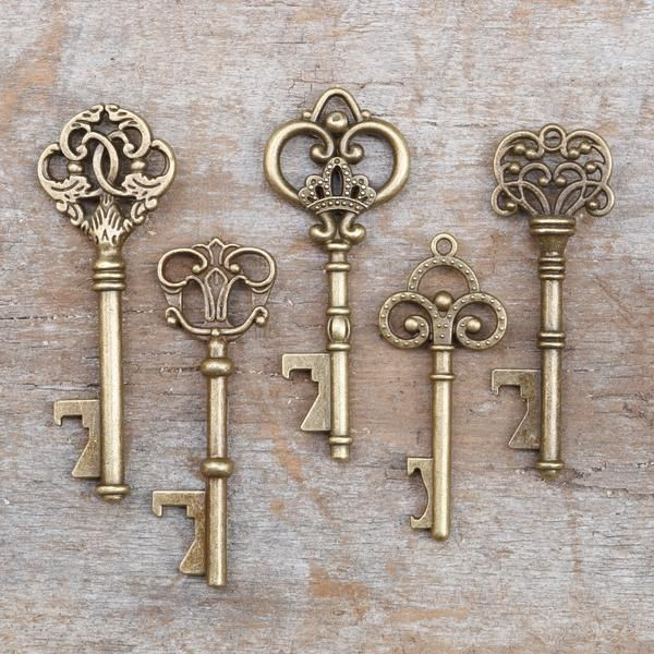 Key Decorations: 50 Assorted Key Bottle Openers - Antique Gold