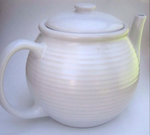 Vintage White Teapot in Beehive Pattern by TheHeirloomedSpoon, $24.00