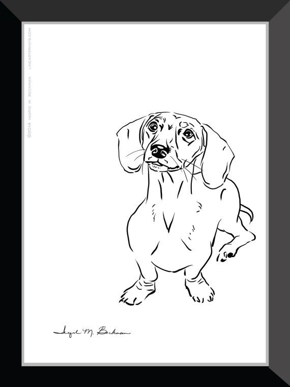 Dachshund Wall Art dachshund print. dog wall art 5x7 room decor. black and white pen