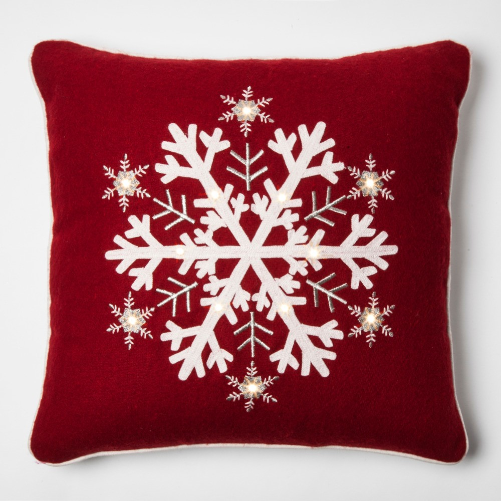 Snowflakes Light Up Square Throw Pillow Red Threshold