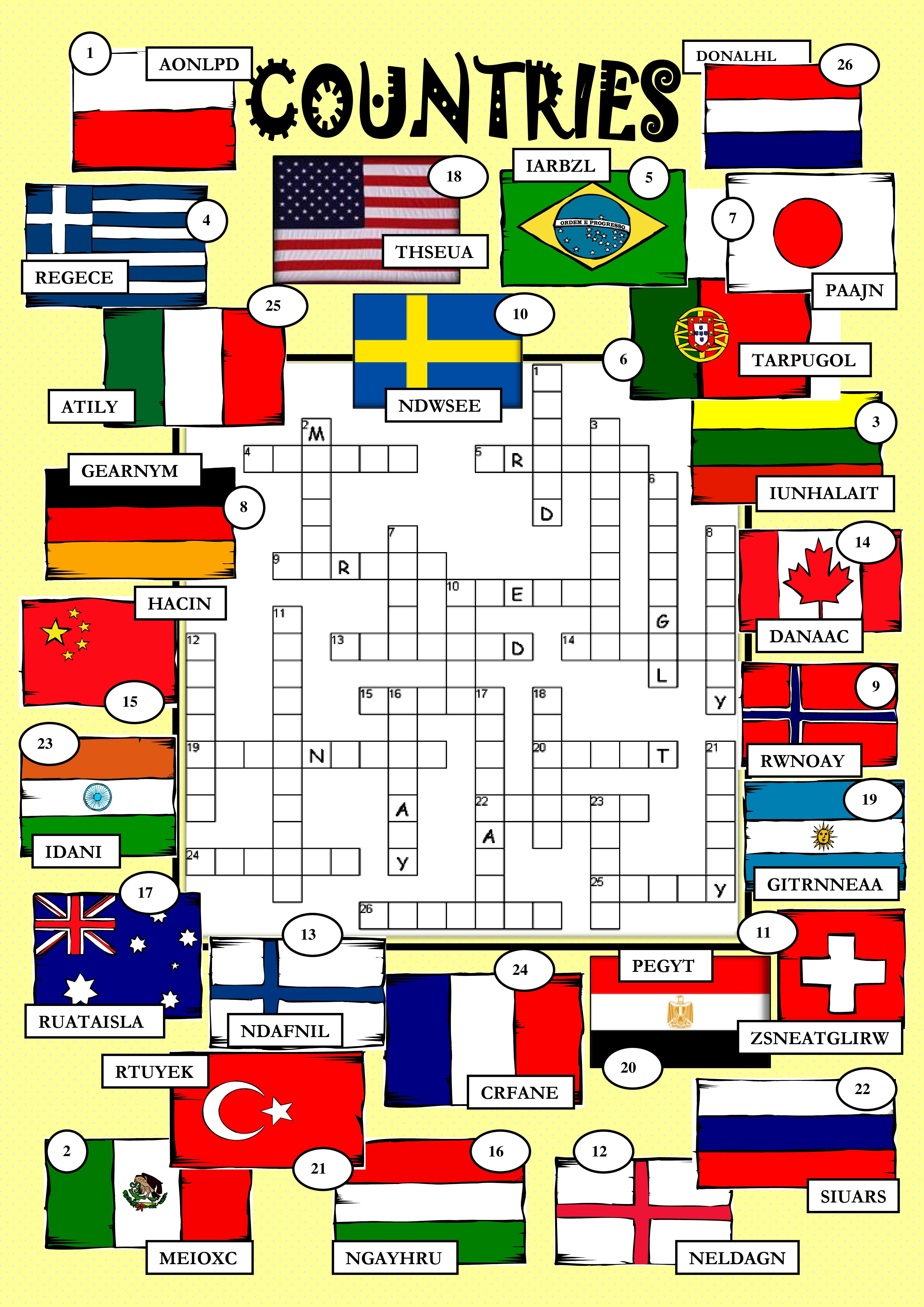 Countries Crosswords Countries Large Numbers Countries