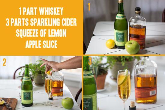 """► """"Sparkling Whiskey Punch"""" - 1 parte whiskey - 3 partes sidra (como Martinelli's) -  Un chorrito de limón amarillo o verde - Una rebanada de manzana. #bebidas #bodas"""