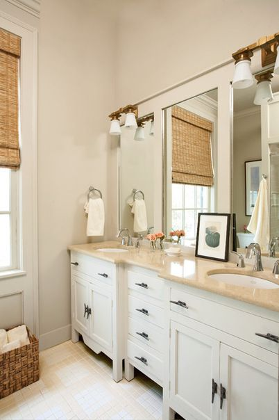 Traditional Master Bathroom Featuring White Cabinets Cream Marble