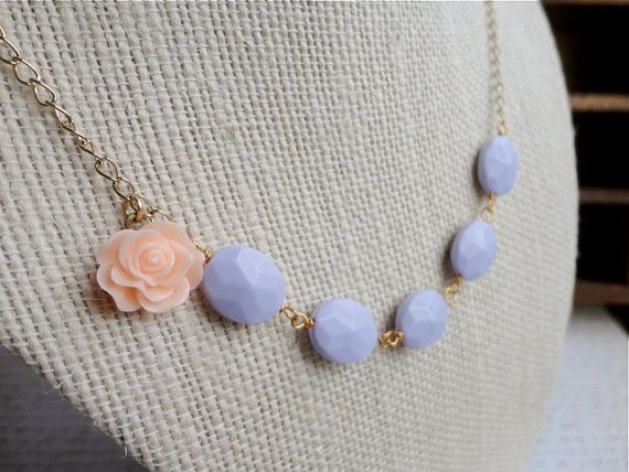 Lilac bead and pale peach rose cabochon by ClassicallyRomantic, $18.00