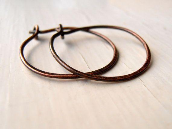 Oxidised copper hoop earrings