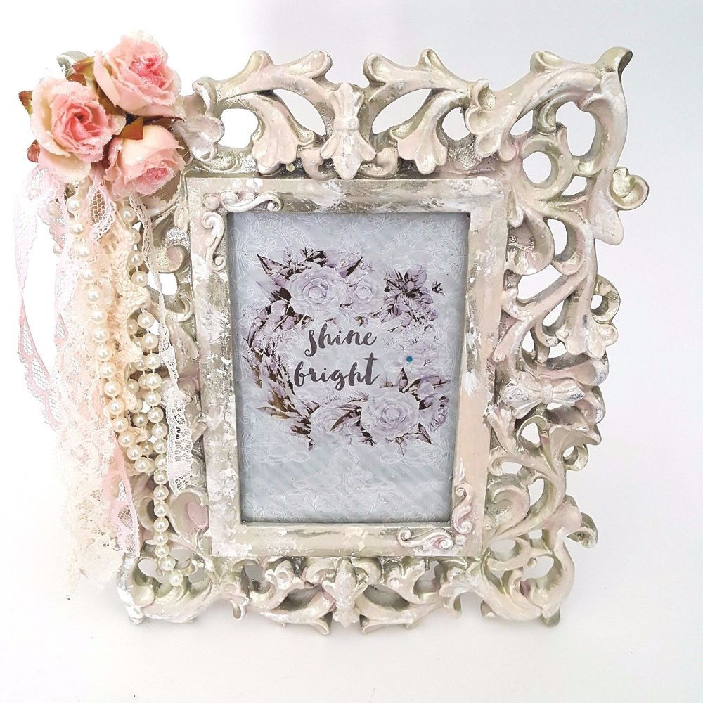 Shabby Cottage Chic French Vtg Style Picture Frame Roses