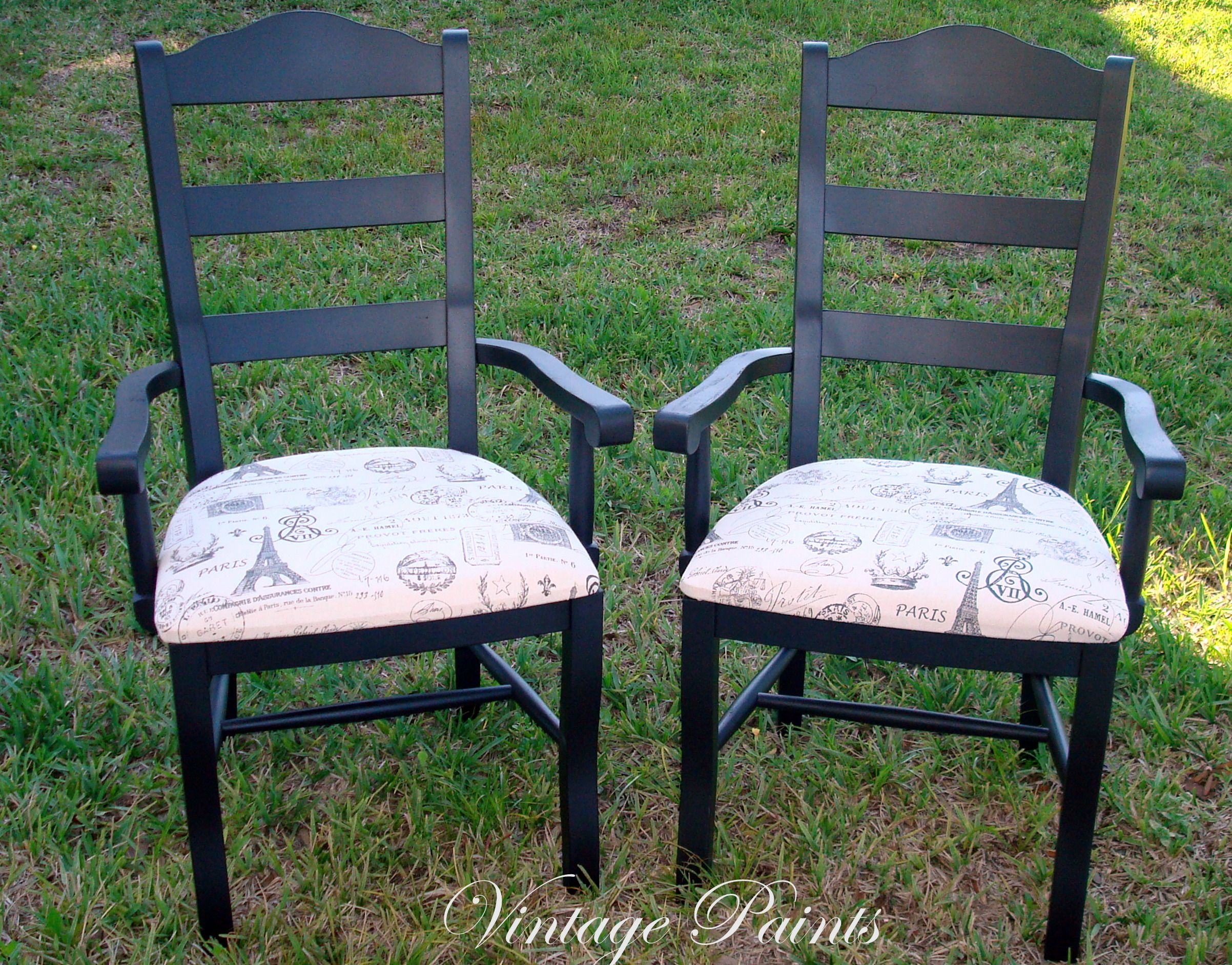 Painted ladder back chairs - Paris Inspired Ladder Back Chairs Painted Jet Black With Reupholstered Seats