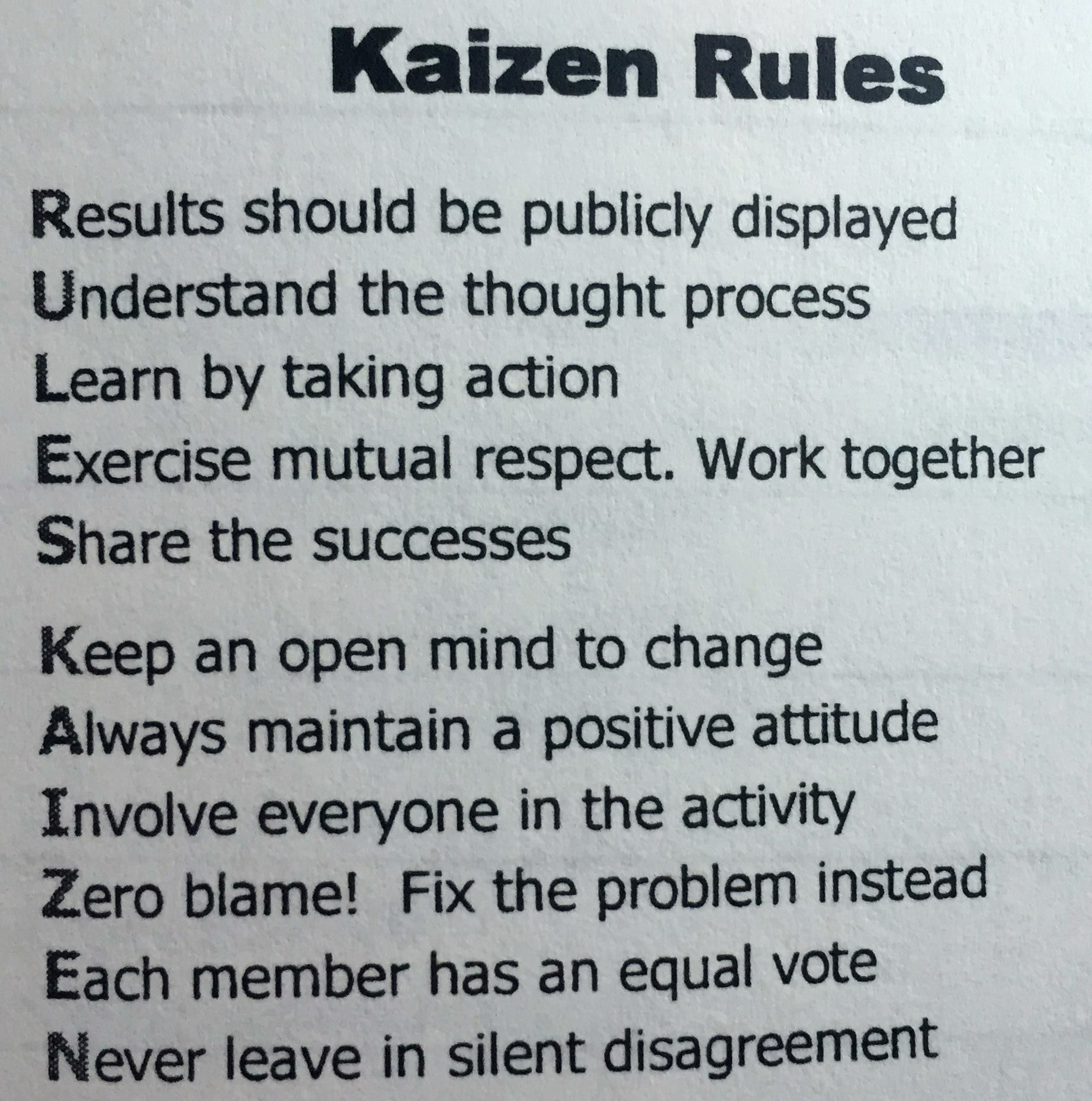 kaizen essay Kaizen is a total philosophy that strives for perfection and sustains tps on a daily basis when ohno and his team emerged from the shop floor with a new manufacturing system, it wasn't just for one company in a particular market and culture.