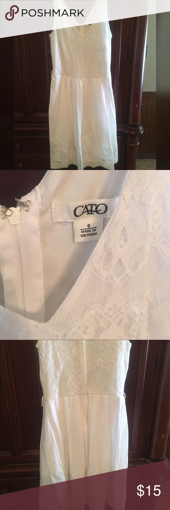 CATO White Lace Dress CATO White Lace Dress, true size 8, great condition, beautiful detail and light weight material. Smoke/Pet Free Home. Cato Dresses Midi